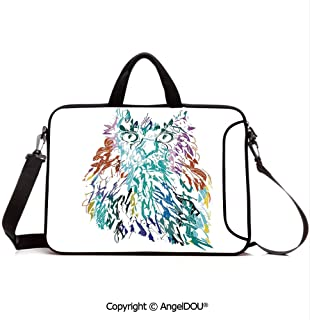 AngelDOU Neoprene Laptop Shoulder Bag Case Sleeve with Handle and Extra Pocket Owl with Fluffy Swollen Colorful Feathers Large Eyes Vision Sage Camouflage Char Compatible with MacBook/Ultrabook/HP/A
