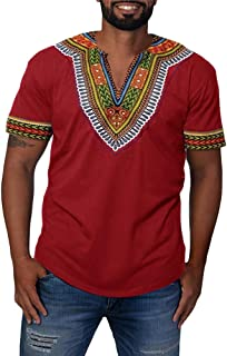 Mens African Shirts Printed Dashiki V Neck Tees Short Sleeve Ethnic Summer Tops Workout Tribal T Shirts