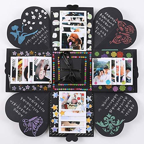 Caja de explosión chenyu hecha a mano, caja de regalo con guía, álbum de fotos, álbum de recortes, libro de recortes, cumpleaños, boda, día de San Valentín, Navidad, regalo sorpresa para hombres, mujeres, amigas, todo negro