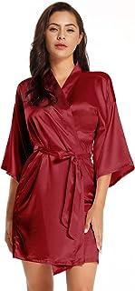 Women's Pure Short Satin Robes Bridesmaid Bride Silky Robes Sleepwear