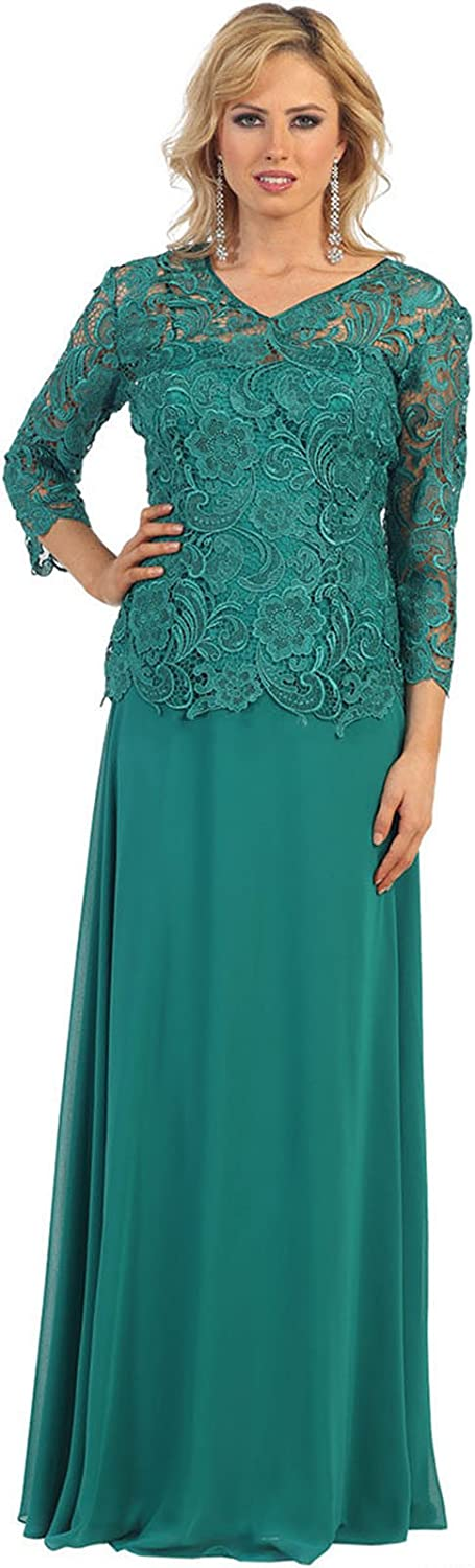 May Queen MQ1107 3 4 Sleeve Mother of The Bride Evening Gown