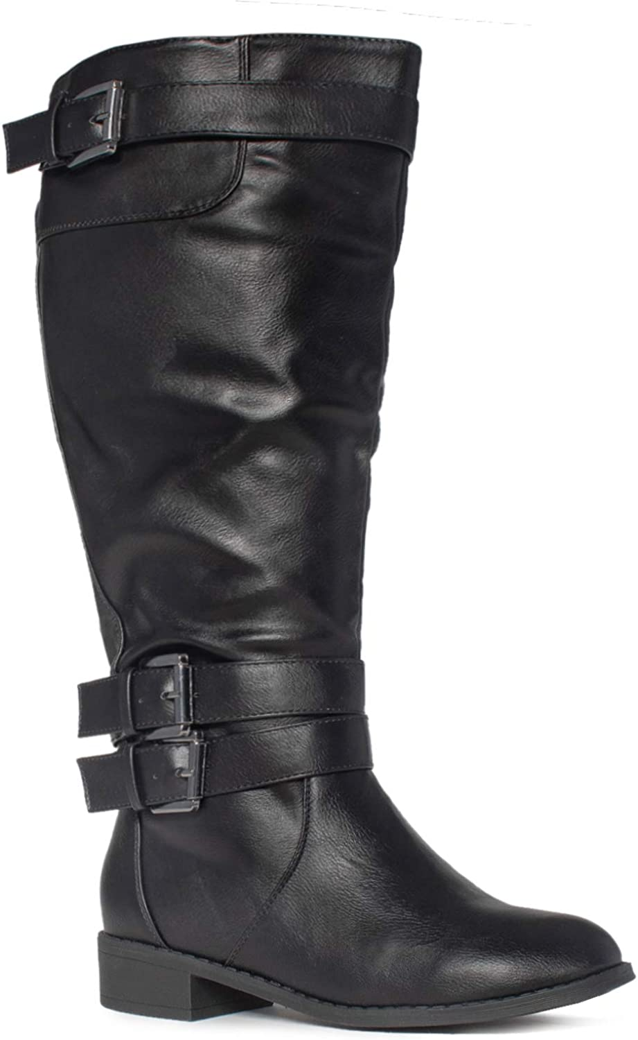 ROF Women's Studded Quilted Leatherette Buckle Round Toe Motorcycle Boots