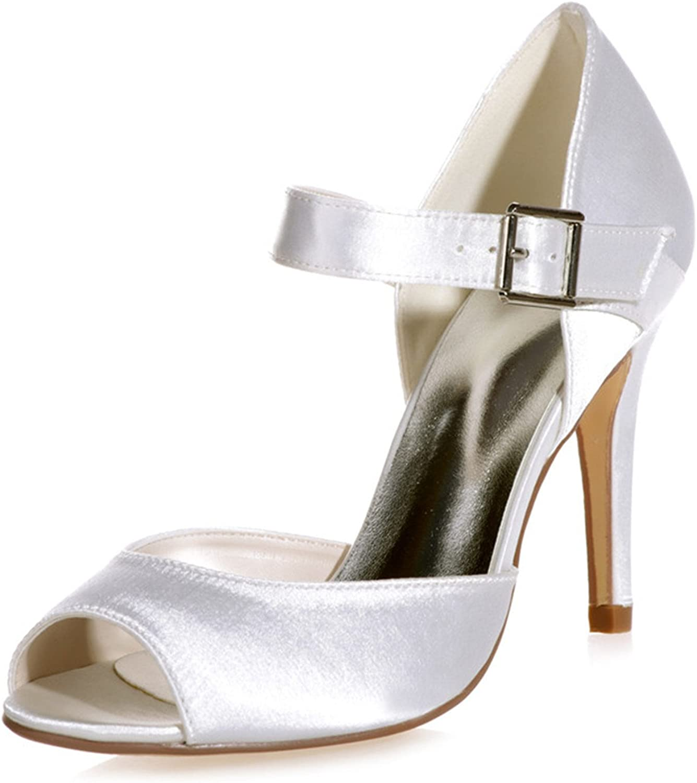 Fanciest Women's Satin Open Peep Toe Pumps Heels Sandals Wedding Bridal shoes Royal bluee 5623-13