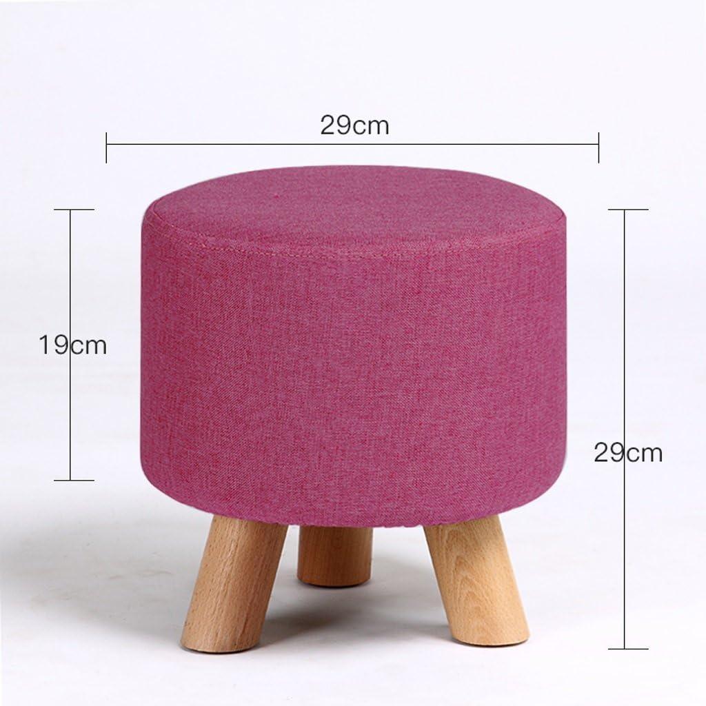 SLL- Ménage petit rond tabouret salon adulte canapé tabouret table basse tabouret en bois massif chaussures banc Fauteuils et Chaises (Color : C) A