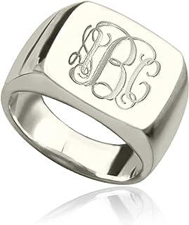 Scott Naismith personnalisé monogramme initiales bague gravé carré conçoit un cadeau pour papa hommes femmes (argent sterl...