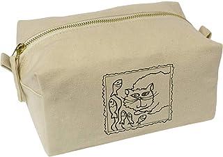 'Cat Postage Stamp' Canvas Wash Bag / Makeup Case (CS00019634)