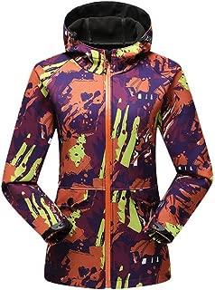 FYXKGLa Women's Camouflage Outdoor Waterproof Windproof Jacket Breathable Mountaineering Jacket Hooded Jacket (Color : Orange, Size : XXXL)