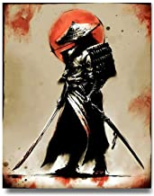 iFine Art Samurai Warrior Wall Art Framed Oil Paintings Printed on Canvas for Home Decorations Home Decor Pictures Modern ...