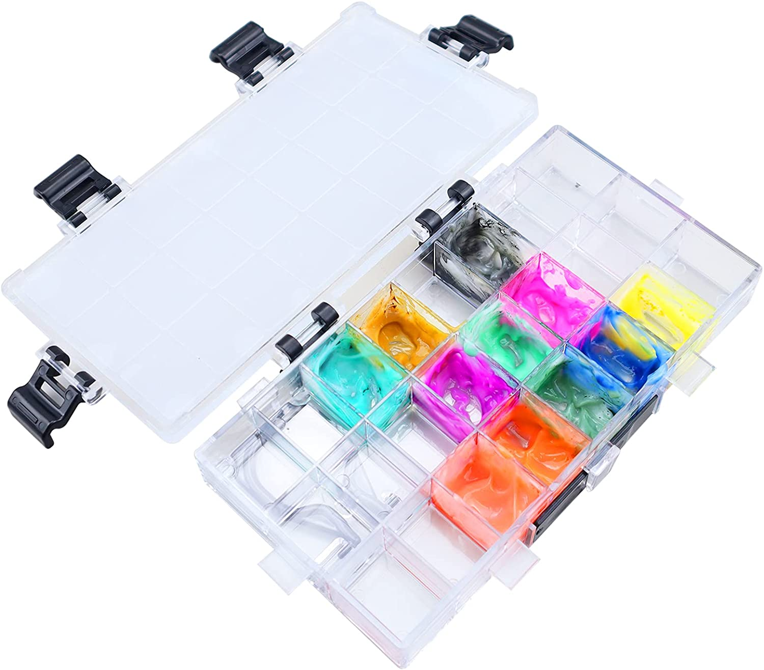 24-Well Watercolor Palette Box Plastic free shipping with L Pallet Paint Tray Ranking TOP17