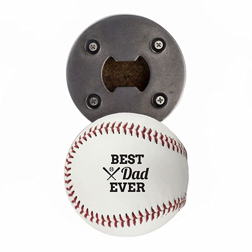 Father's Day Bottle Opener, Made from a real Baseball, Best Dad Ever, Cap Catcher, Fridge Magnet