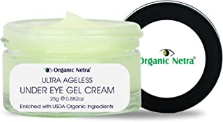 Organic Netra® Ultra Ageless Under Eye Gel Cream – Anti-Aging Deep Under Eye Skincare Made with USDA Organic Ingredients f...