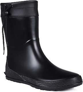 Women's Mid Calf Rain Boots Collar Gardening Boots Ultra Lightweight Portable Garden Shoes
