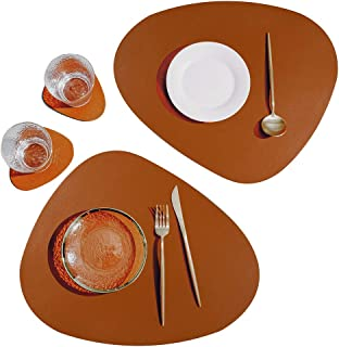 handmade from Recycled Leather Christmas placemats couples gift set de table Set of 4 Leather placemats