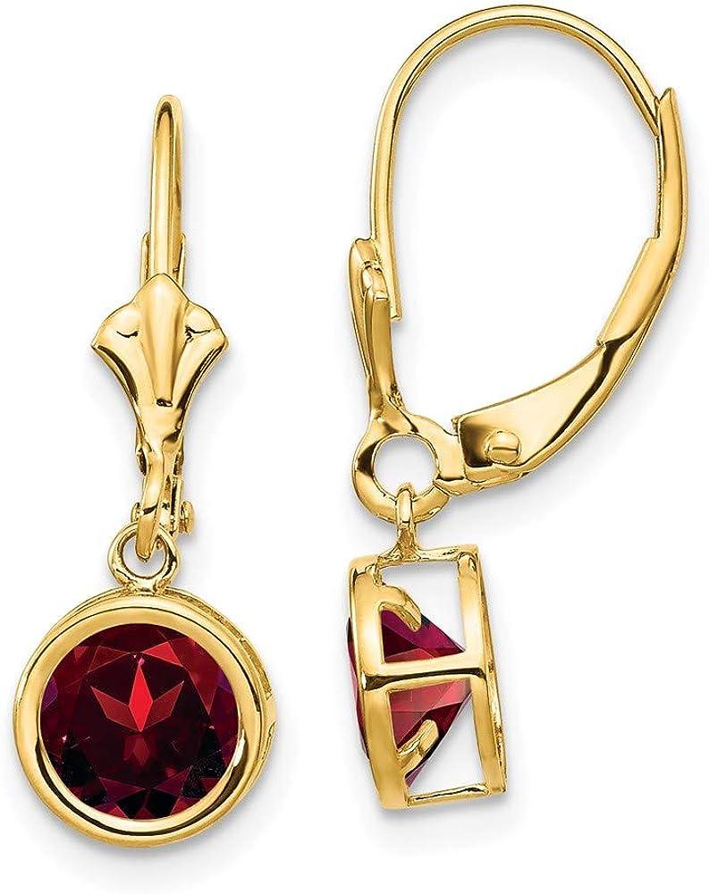 14k Yellow Gold 6mm Red Garnet Leverback Earrings Lever Back Birthstone January Drop Dangle Gemstone Bezel Fine Jewelry For Women Gifts For Her