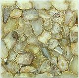 Rajasthan Gems handgefertigt Semi Precious Stone Couchtisch Top, Beistelltisch, natur Achat Stein gelb