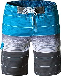 Necosthua Men's Swim Trunks Quick Dry Summer Holiday Surf Beach Beachwear Board Shorts with Mesh Lining & Pocket