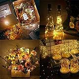 【12 Stück】Nasharia 20 LEDs 2M Flaschen Licht Warmweiß, Lichterkette für Flasche LED Lichterketten Stimmungslichter Weinflasche Kupferdraht, batteriebetriebene für Flasche DIY, Dekor,Weihnachten - 2