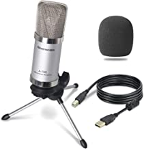 Alvoxcon USB Condenser Microphone Plug & Play Home Studio USB Microphone for Skype YouTube Google Voice Search Podcasting PC (Silver)
