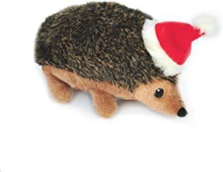 Zippy Paws - Holiday Hedgehog Plush Squeaky Dog Toy, Christmas Pet Gift