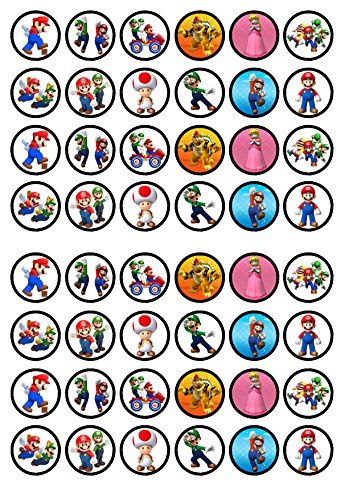Cupcake toppers, design: Super Mario, 48 pieces, extra thick, vanilla flavor, sweetened, edible rice paper