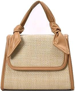 TOOGOO Fashion Casual Summer Women Fashion Summer Beach Straw Bag Wild Chain Messenger Shoulder Square Bag Blue