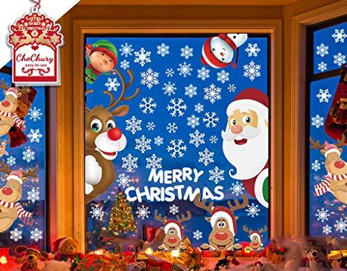 CheChury Fensterbilder für Weihnachten Fensterbilder Winter Statisch Haftende PVC Aufklebe Weihnachtsmann Süße Elche Wiederverwendbar Schneeflocken Fenster