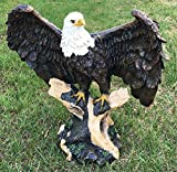 Large Wings of Glory Perching Grand Bald Eagle On Tree Branch Statue Home Decor Figurine American for Lawyers Government Civil Servants Military Personels