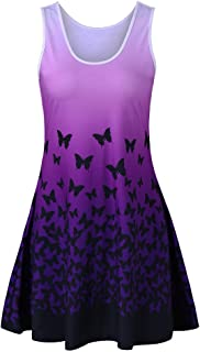 Womens Summer Casual Butterfly Print Sleeveless O-Neck Skirt Party Mini Dress