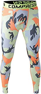 SODIAL Men Compression Long Pants Running Base Layers Skins Tights Army Camouflage Soccer Joggers Trousers(Yellow Orange L)