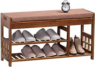 Banc de rangement pour chaussures banc à chaussures en bambou étagère à chaussures à 3 niveaux organisateur de rangement p...