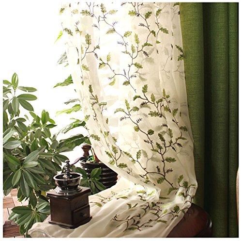 CYSTYLE Neue 1er Stickerei Blätter Schal Garn Vorhang Dekosachl Transparent Gardinen,Vorhang Voile Fensterschal Dekoschal für Wohnzimmer Kinderzimmer Schlafzimmer (150 x 220 cm)
