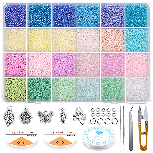 Bala/&Fillic Size 4mm 6//0 Glass Seed Beads Started Kit About 6000pcs with Spacer Beads,Charms,Tweezers and Elastic String Including 300 pcs Alphabet Letter Beads A-Z with Heart Pattern Beads Jewelry Making Supplies