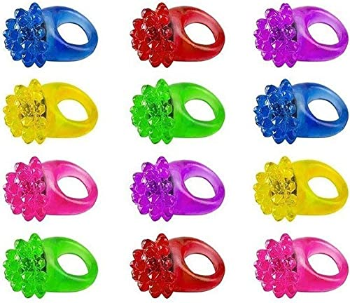 Light Up Bumpy Ring Toys With Flashing Blinking LED Lights - Set of (12) Assorted Rings For Kids, Party, Etc. - By Kidsco
