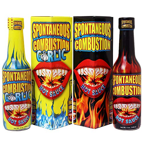 SPONTANEOUS COMBUSTION Garlic and Original Hot Sauce with Habanero - 5 oz – 2 Pack - Try if you dare! – Perfect Gourmet Gift for the Hot Sauce Fan