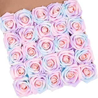 N&T NIETING Artificial Flowers Roses, 25pcs Real Touch Artificial Foam Roses with Steams for Baby Shower, Cake Decoration DIY, Wedding Bridal Bouquets Centerpieces, Party Decoration, Home Display