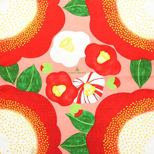 [キステ] 風呂敷 ふろしき 浅山美里 デザイナーズ小風呂敷 綿100% 50cm 小風呂敷 タペストリー (椿 ピンク)