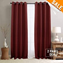 Linen Textured Grommet Room Darkening Temperature Control Curtains Bedroom Blackout Curtains Living Room Curtains 2 Panels Burgundy 84 Inches