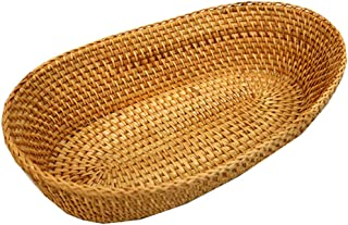Handmade Rattan Bread Basket Oval Tabletop Food Serving Platter (L-12.6