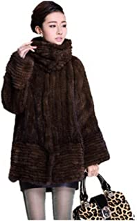 YR Lover Women's Winter Long Sleeve Knitted Real Mink Fur Coat with Pocket
