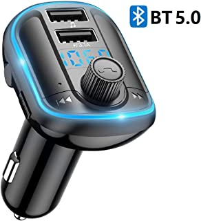 Car Bluetooth FM Transmitter, Aigital Upgraded Wireless Car FM Radio Transmitter Adapter Bluetooth Car Kit for Hands-Free Calling, with Dual Charging Ports and Atmosphere Light