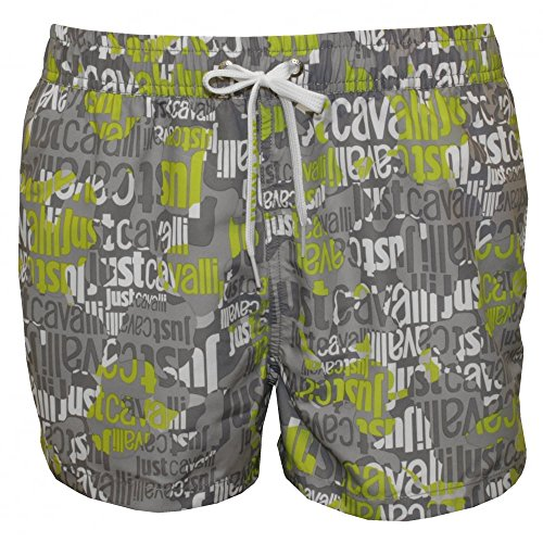 Just Cavalli Entier Hommes Logo De Natation Shorts, Black/Grey/White Grande