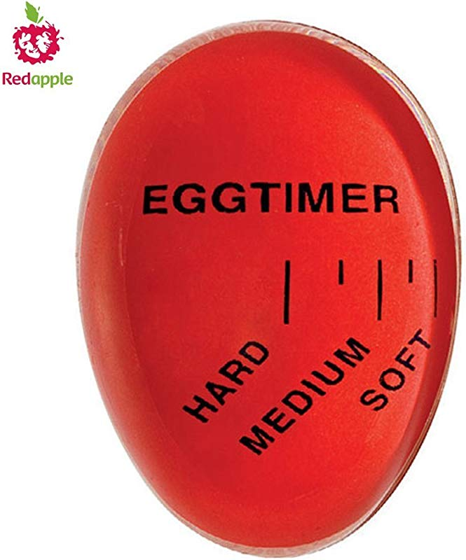 Red Apple Heat Sensitive Hard Soft Boiled Egg Timer Color Changing Indicator Tells When Eggs Are Ready Watch Color Change For SOFT MEDIUM Or HARD BOILED Super Reliable Kitchen Tool Gift