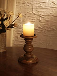 Ardour Distressed Natural Wooden Pillar Candle Stand for Home Decor Fireplace/Wedding/Table Top Accessories - 6 Inches