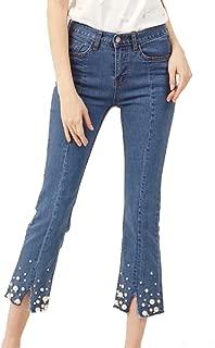 Summer Women Pearls Skinny Flare Jeans Mid Waist Ankle Length Split Jeans