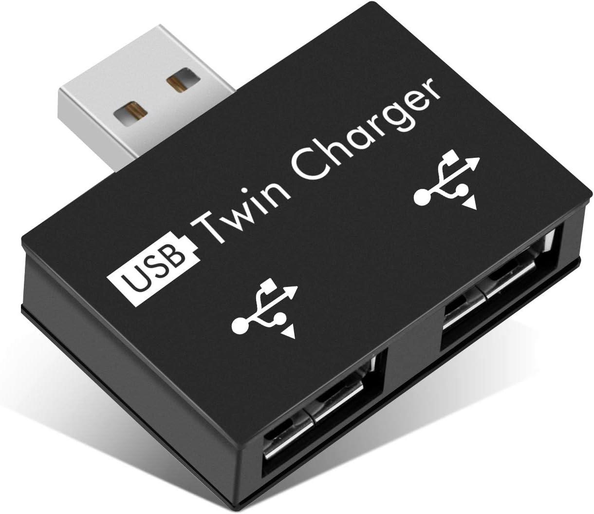 USB2.0 2-Port, Portable 2-Port USB Hub, Male to Dual USB Female Adapter for Laptops Desktops(Black)