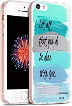 Case for Phone SE 5S Christian/IWONE Designer Rubber Durable Protective Skin Cover Shockproof Compatible with iPhone 5S/5/SE + Bible Verse Christian Writings About Love Corinthians TPU Protective