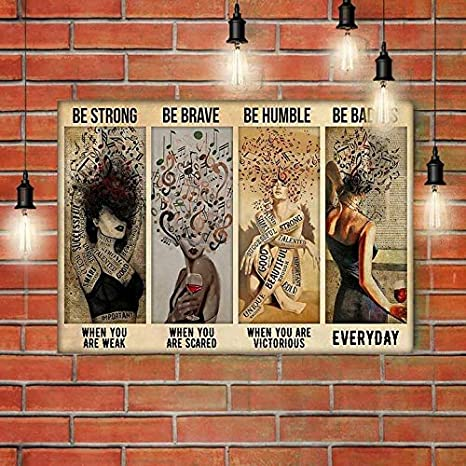 Poster No Frame  Canvas With Frame Be Trong Be Brave Be Humbler Be Badass