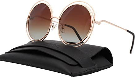 6288440904f0 VIVIENFANG Full Metal Double Circle Wire Frame Oversized Round Polarized  Sunglasses 86613