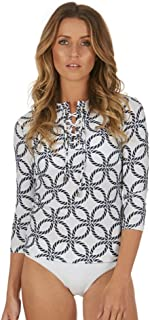 Cat&i Womens Rashie Rash Guard with Lace up Neckline and ¾ Long Sleeves UPF 50+ Sun Protection (Sizes 8-20)