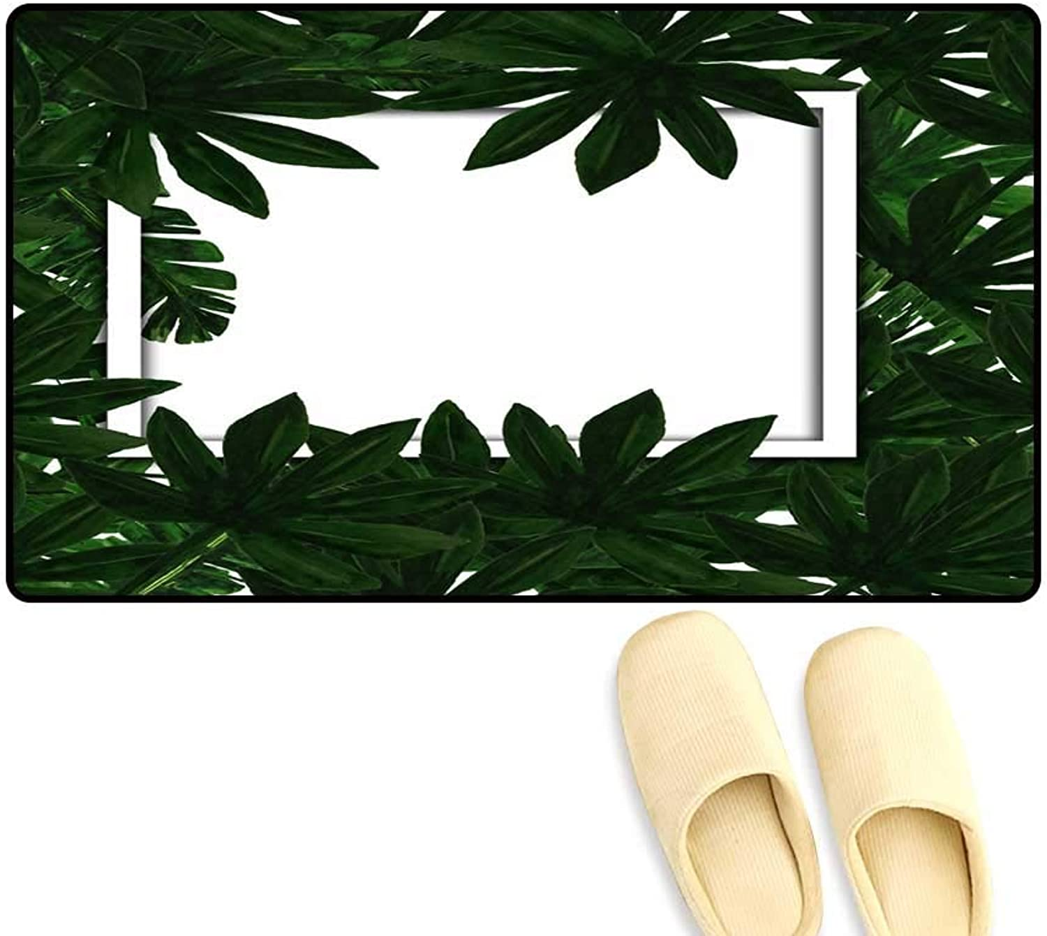 Interior Doormat Tropical Leaves Frame wi Empty Space